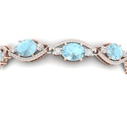 21.6 CTW Royalty Sky Topaz & VS Diamond Bracelet 18K Rose Gold - REF-327R3K - 38971
