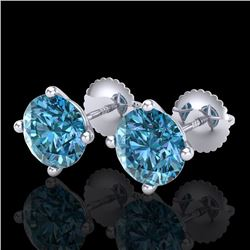 3.01 CTW Fancy Intense Blue Diamond Art Deco Stud Earrings 18K White Gold - REF-472H8W - 38258