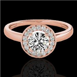 1.15 CTW H-SI/I Certified Diamond Solitaire Halo Ring 10K Rose Gold - REF-152F8M - 33464