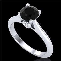 1.08 CTW Fancy Black Diamond Solitaire Engagement Art Deco Ring 18K White Gold - REF-76H4W - 38199