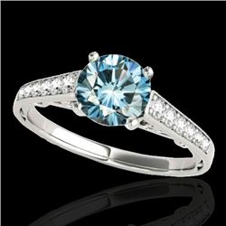 1.35 CTW SI Certified Fancy Blue Diamond Solitaire Ring 10K White Gold - REF-156X4T - 34912