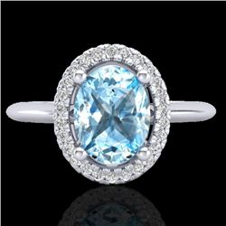 2 CTW Sky Blue Topaz & Micro VS/SI Diamond Ring Solitaire Halo 18K White Gold - REF-48T8X - 21004