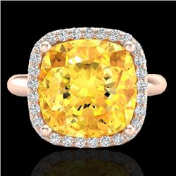 6 CTW Citrine And Micro Pave Halo VS/SI Diamond Ring Solitaire 14K Rose Gold - REF-47N3Y - 23095