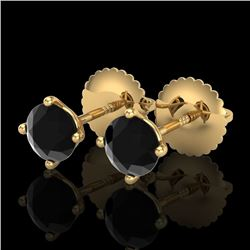 0.65 CTW Fancy Black Diamond Solitaire Art Deco Stud Earrings 18K Yellow Gold - REF-36K4R - 38222