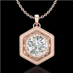 0.76 CTW VS/SI Diamond Solitaire Art Deco Stud Necklace 18K Rose Gold - REF-178Y2N - 36903