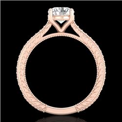 1.45 CTW VS/SI Diamond Solitaire Art Deco Ring 18K Rose Gold - REF-400F2M - 37005
