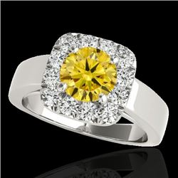 1.55 CTW Certified Si Fancy Intense Yellow Diamond Solitaire Halo Ring 10K White Gold - REF-174R5K -