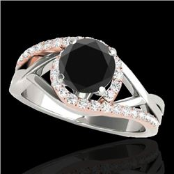 1.3 CTW Certified Vs Black Diamond Bypass Solitaire Ring Two Tone 10K White & Rose Gold - REF-69M5F