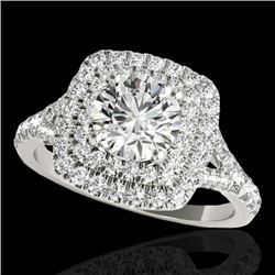 1.6 CTW H-SI/I Certified Diamond Solitaire Halo Ring Two Tone 10K White Gold - REF-216F4M - 33358