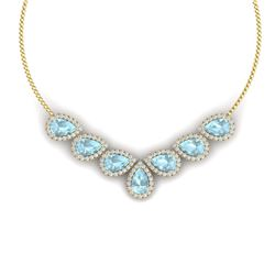36.24 CTW Royalty Sky Topaz & VS Diamond Necklace 18K Yellow Gold - REF-527Y3N - 38837