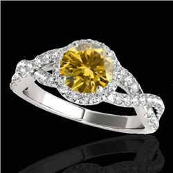 1.54 CTW Certified Si Fancy Intense Yellow Diamond Solitaire Halo Ring 10K White Gold - REF-170M4F -