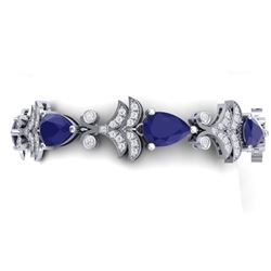 24.8 CTW Royalty Sapphire & VS Diamond Bracelet 18K White Gold - REF-436N4Y - 38736
