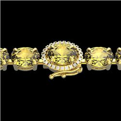 29 CTW Citrine & VS/SI Diamond Tennis Micro Pave Halo Bracelet 14K Yellow Gold - REF-117K3R - 23420