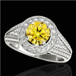 2.17 CTW Certified Si Fancy Intense Yellow Diamond Solitaire Halo Ring 10K White Gold - REF-309N3Y -