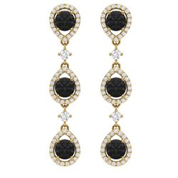 4.7 CTW Certified Black VS Diamond Earrings 18K Yellow Gold - REF-209N3Y - 39098