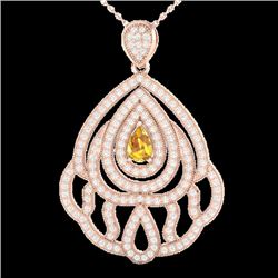 2 CTW Yellow Sapphire & Micro VS/SI Diamond Designer Necklace 14K Rose Gold - REF-150N2Y - 21276