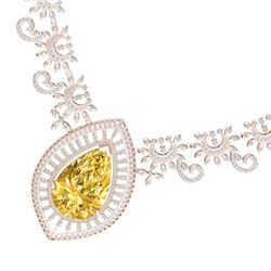 53.17 CTW Royalty Canary Citrine & VS Diamond Necklace 18K Rose Gold - REF-1309X3T - 39787