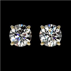 1 CTW Certified H-SI/I Quality Diamond Solitaire Stud Earrings 10K Yellow Gold - REF-114M5F - 33051