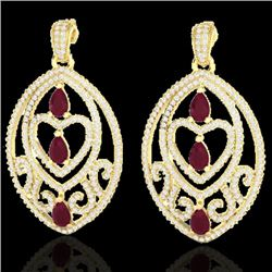 7 CTW Ruby & Micro Pave VS/SI Diamond Heart Earrings Designer 18K Yellow Gold - REF-381H8W - 21159