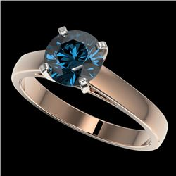 1.50 CTW Certified Intense Blue SI Diamond Solitaire Engagement Ring 10K Rose Gold - REF-254H5W - 33