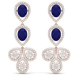 9.75 CTW Royalty Sapphire & VS Diamond Earrings 18K Rose Gold - REF-290K9R - 39085
