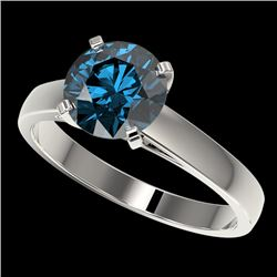 2 CTW Certified Intense Blue SI Diamond Solitaire Engagement Ring 10K White Gold - REF-417H6W - 3303