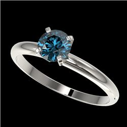 0.77 CTW Certified Intense Blue SI Diamond Solitaire Engagement Ring 10K White Gold - REF-85R5K - 36