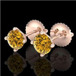 1.01 CTW Intense Fancy Yellow Diamond Art Deco Stud Earrings 18K Rose Gold - REF-100Y2N - 38233