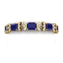 38.13 CTW Royalty Sapphire & VS Diamond Bracelet 18K Yellow Gold - REF-454M5F - 39398