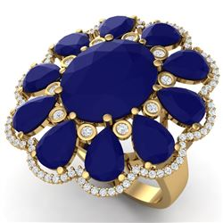 20.63 CTW Royalty Sapphire & VS Diamond Ring 18K Yellow Gold - REF-309K3R - 39146