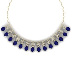 56.05 CTW Royalty Sapphire & VS Diamond Necklace 18K Yellow Gold - REF-1054R5K - 39068