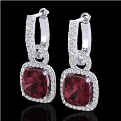 7 CTW Garnet & Micro Pave VS/SI Diamond Certified Earrings 18K White Gold - REF-100X8T - 22963
