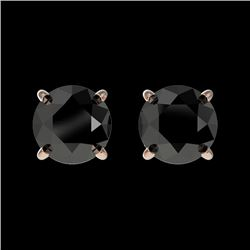 1 CTW Fancy Black VS Diamond Solitaire Stud Earrings 10K Rose Gold - REF-30H5W - 33053
