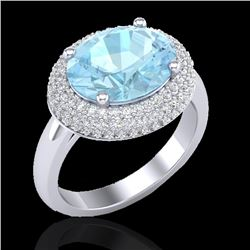 4 CTW Aquamarine & Micro Pave VS/SI Diamond Certified Ring 18K White Gold - REF-125H3W - 20905