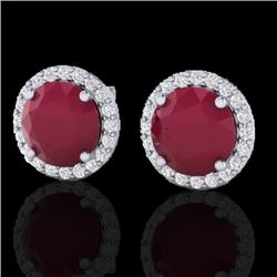4 CTW Ruby & Halo VS/SI Diamond Certified Micro Earrings Solitaire 18K White Gold - REF-80R2K - 2150