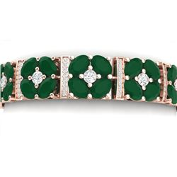 39.78 CTW Royalty Emerald & VS Diamond Bracelet 18K Rose Gold - REF-636R4K - 39013