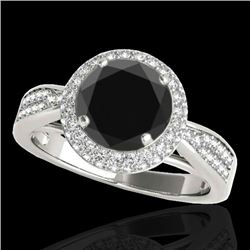 2.15 CTW Certified Vs Black Diamond Solitaire Halo Ring 10K White Gold - REF-96R4K - 34417