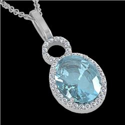 4 CTW Sky Blue Topaz & Micro Halo VS/SI Diamond Necklace 14K White Gold - REF-45N3Y - 22772