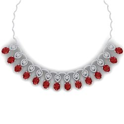56.05 CTW Royalty Ruby & VS Diamond Necklace 18K White Gold - REF-1145N5Y - 39063