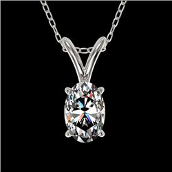 0.50 CTW Certified VS/SI Quality Oval Diamond Solitaire Necklace 10K White Gold - REF-74H5W - 33163