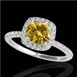 1.5 CTW Certified Si Fancy Intense Yellow Diamond Solitaire Halo Ring 10K White Gold - REF-180N2Y -