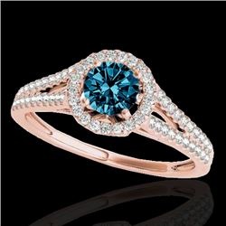 1.3 CTW SI Certified Fancy Blue Diamond Solitaire Halo Ring 10K Rose Gold - REF-162W8H - 33888