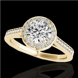 1.33 CTW H-SI/I Certified Diamond Solitaire Halo Ring 10K Yellow Gold - REF-174F5M - 33510