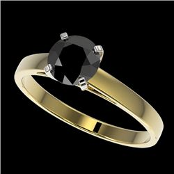 1 CTW Fancy Black VS Diamond Solitaire Engagement Ring 10K Yellow Gold - REF-34W2H - 32986