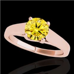 1 CTW Certified Si Fancy Intense Yellow Diamond Solitaire Ring 10K Rose Gold - REF-138H2W - 35533