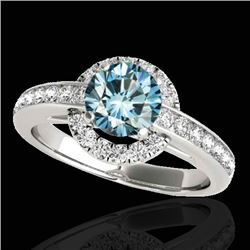 1.5 CTW SI Certified Fancy Blue Diamond Solitaire Halo Ring 10K White Gold - REF-180T2X - 33929