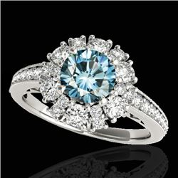 2.16 CTW SI Certified Fancy Blue Diamond Solitaire Halo Ring 10K White Gold - REF-221W8H - 33987