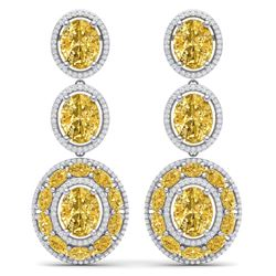 29.71 CTW Royalty Canary Citrine & VS Diamond Earrings 18K White Gold - REF-354M5F - 39270