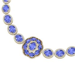 81.27 CTW Royalty Tanzanite & VS Diamond Necklace 18K Yellow Gold - REF-1545R5K - 39230