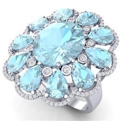 20.54 CTW Royalty Sky Topaz & VS Diamond Ring 18K White Gold - REF-254T5X - 39147